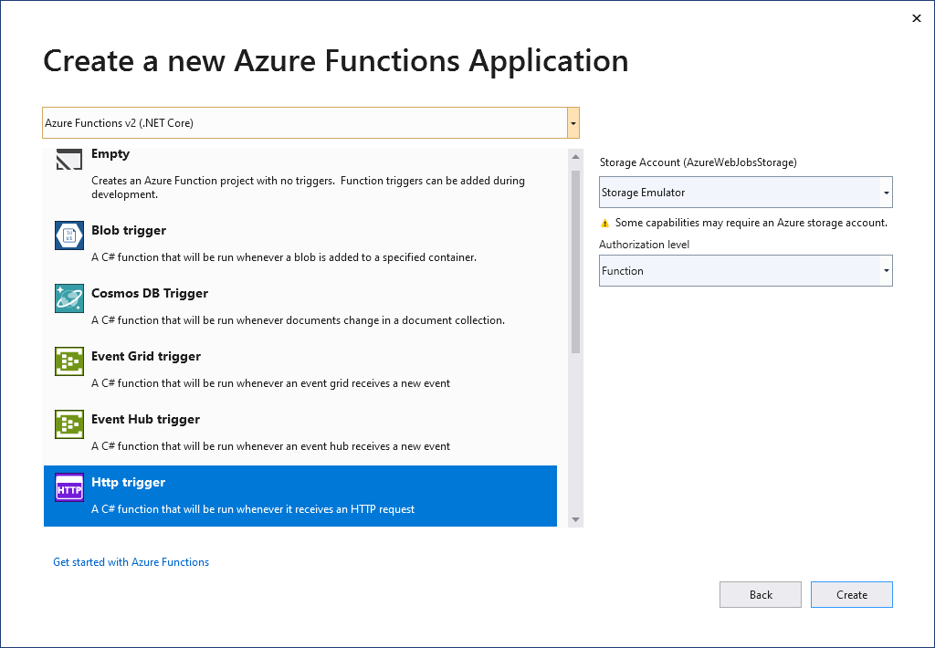 Create new Function in Visual Studio