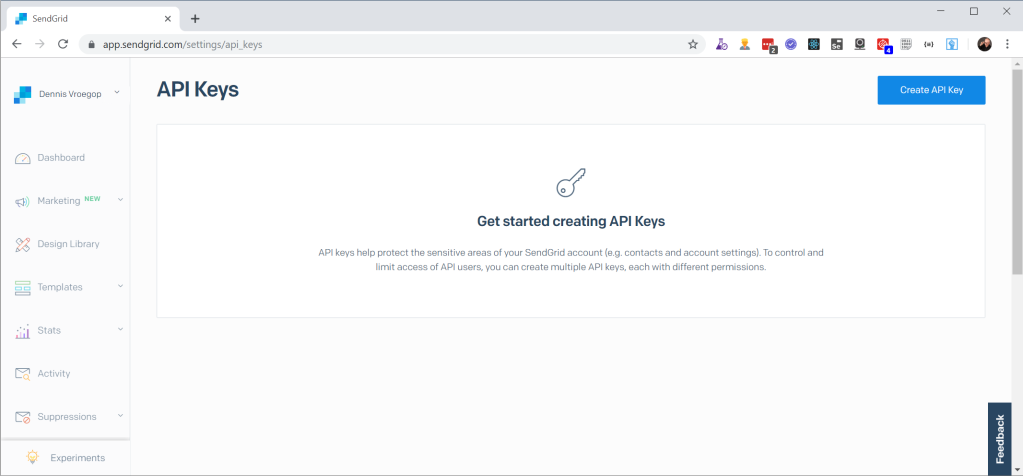 SendGrid Key management scherm