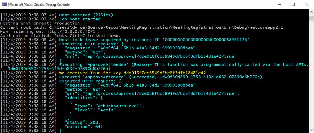 Debug info van een geslaagde call naar de API voor het goedkeuren.