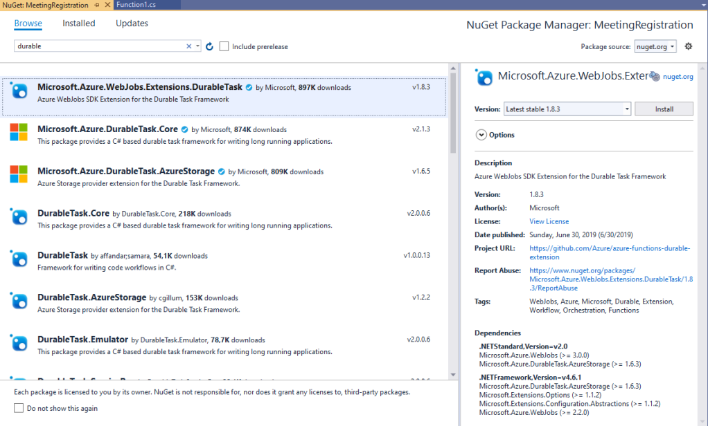 Nuget pacakge voor de Durable Functions